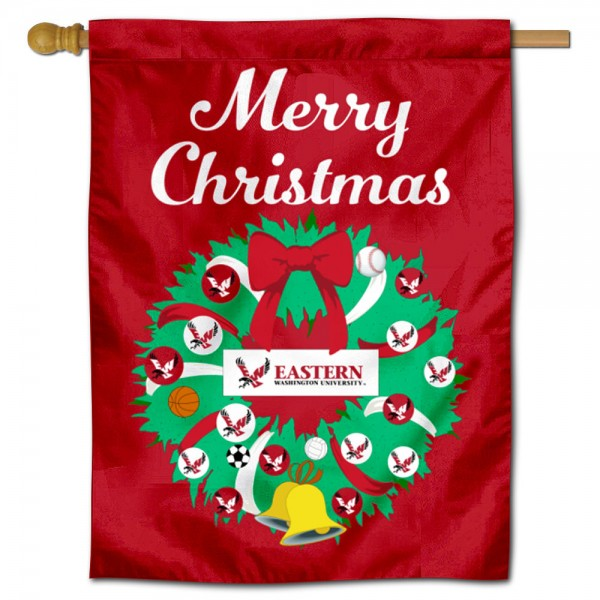 EWU Eagles Happy Holidays Banner Flag measures 30x40 inches, is made of poly, has a top hanging sleeve, and offers dye sublimated EWU Eagles logos. This Decorative EWU Eagles Happy Holidays Banner Flag is officially licensed by the NCAA.