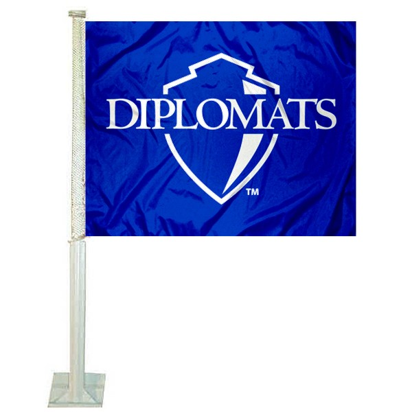 F&M Diplomats Logo Car Flag measures 12x15 inches, is constructed of sturdy 2 ply polyester, and has screen printed school logos which are readable and viewable correctly on both sides. F&M Diplomats Logo Car Flag is officially licensed by the NCAA and selected university.
