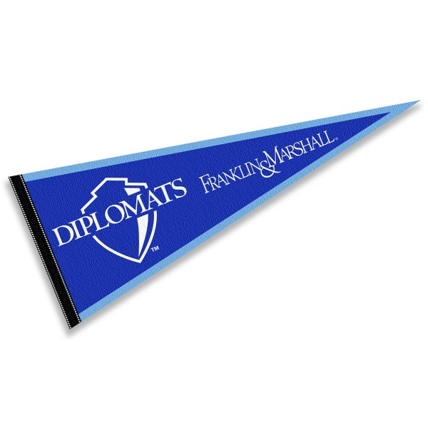 F&M Diplomats Pennant consists of our full size sports pennant which measures 12x30 inches, is constructed of felt, is single sided imprinted, and offers a pennant sleeve for insertion of a pennant stick, if desired. This F&M Diplomats Pennant Decorations is Officially Licensed by the selected university and the NCAA.