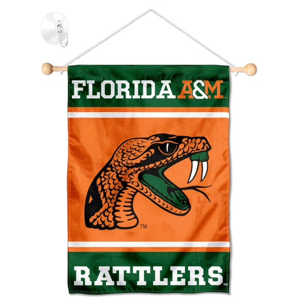 "FAMU Rattlers Window and Wall Banner kit includes our 13""x18"" garden banner which is made of 2 ply poly with liner and has screen printed licensed logos. Also, a 17"" wide banner pole with suction cup is included so your FAMU Rattlers Window and Wall Banner is ready to be displayed with no tools needed for setup. Fast Overnight Shipping is offered and the flag is Officially Licensed and Approved by the selected team."