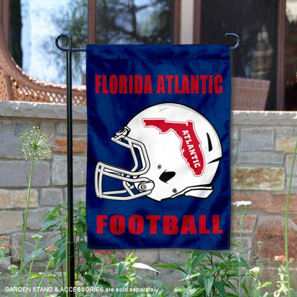 FAU Owls Helmet Yard Garden Flag is 13x18 inches in size, is made of 2-layer polyester with Liner, screen printed university athletic logos and lettering, and is readable and viewable correctly on both sides. Available same day shipping, our FAU Owls Helmet Yard Garden Flag is officially licensed and approved by the university and the NCAA.