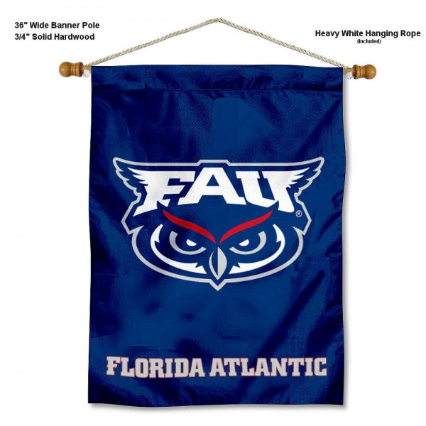 "FAU Owls Wall Banner is constructed of polyester material, measures a large 30""x40"", offers screen printed athletic logos, and includes a sturdy 3/4"" diameter and 36"" wide banner pole and hanging cord. Our FAU Owls Wall Banner is Officially Licensed by the selected college and NCAA."