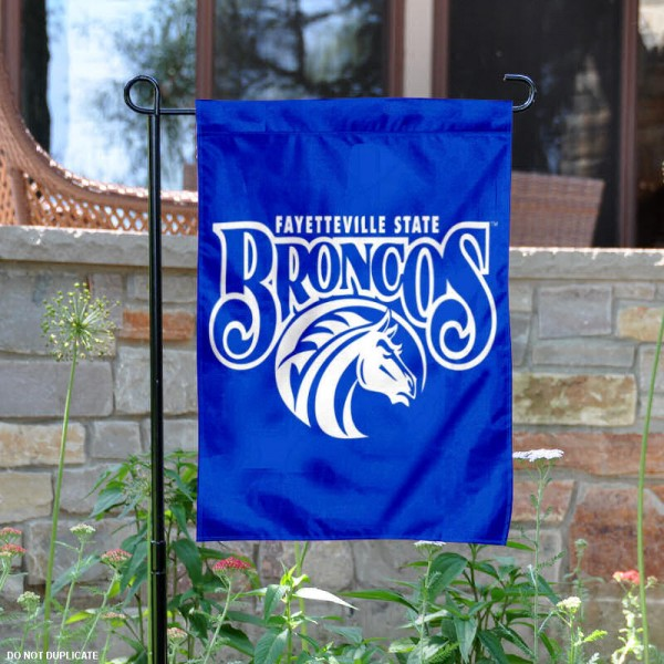 Fayetteville State Broncos Logo Garden Flag is 13x18 inches in size, is made of 2-layer polyester with liner, screen printed athletic logos and lettering. Available with Same Day Overnight Express Shipping, Our Fayetteville State Broncos Logo Garden Flag is officially licensed and approved by the university, college and the NCAA.
