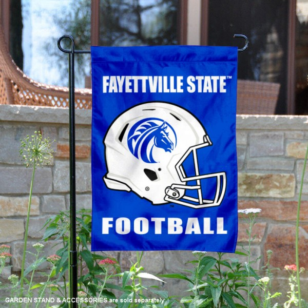 Fayetteville State University Football Helmet Garden Banner is 13x18 inches in size, is made of 2-layer polyester, screen printed Fayetteville State University athletic logos and lettering. Available with Same Day Express Shipping, Our Fayetteville State University Football Helmet Garden Banner is officially licensed and approved by Fayetteville State University and the NCAA.