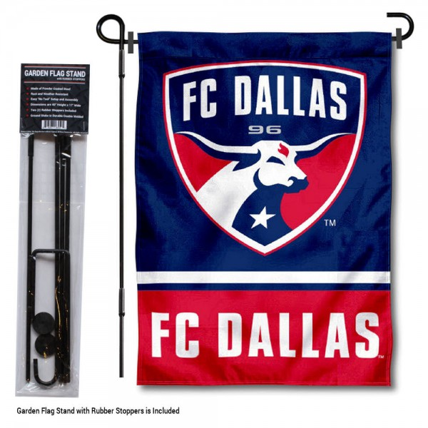 "FC Dallas Garden Flag and Flagpole Stand kit includes our 12.5""x18"" garden banner which is made of 2 ply poly with liner and has screen printed licensed logos. Also, a 40""x17"" inch garden flag stand is included so your FC Dallas Garden Flag and Flagpole Stand is ready to be displayed with no tools needed for setup. Fast Overnight Shipping is offered and the flag is Officially Licensed and Approved by the selected team."