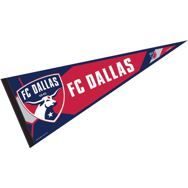 FC Dallas Pennant is our Full Size MLS soccer team pennant which measures 12x30 inches, is made of felt, and is single sided screen printed. Our FC Dallas Pennant is perfect for showing your MLS team allegiance in any room of the house and is MLS licensed.