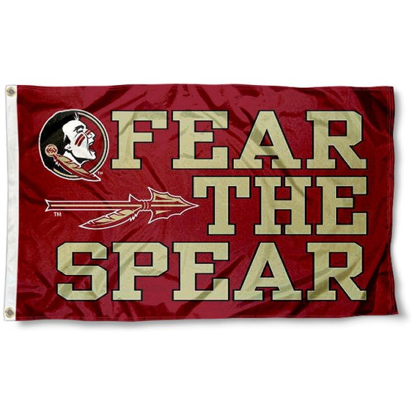 Fear the Spear Flag measures 3'x5', is made of 100% poly, has quadruple stitched sewing, two metal grommets, and has double sided Florida State University logos. Our Fear the Spear Flag is officially licensed by Florida State University and the NCAA.