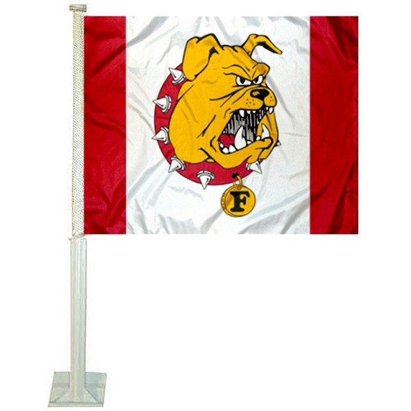 Ferris State Bulldogs Car Window Flag measures 12x15 inches, is constructed of sturdy 2 ply polyester, and has dye sublimated school logos which are readable and viewable correctly on both sides. Ferris State Bulldogs Car Window Flag is officially licensed by the NCAA and selected university.