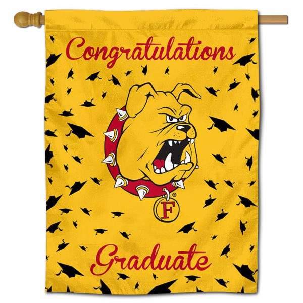Ferris State Bulldogs Congratulations Graduate Flag measures 30x40 inches, is made of poly, has a top hanging sleeve, and offers dye sublimated Ferris State Bulldogs logos. This Decorative Ferris State Bulldogs Congratulations Graduate House Flag is officially licensed by the NCAA.