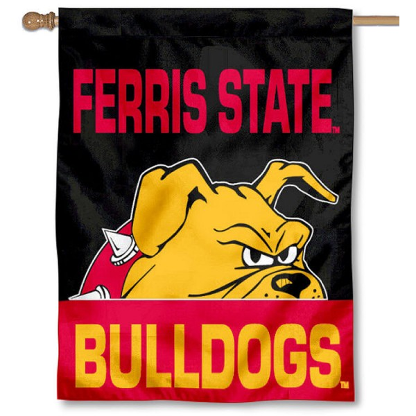 Ferris State FSU Bulldogs Banner Flag is a vertical house flag which measures 30x40 inches, is made of 2 ply 100% polyester, offers dye sublimated NCAA team insignias, and has a top pole sleeve to hang vertically. Our Ferris State FSU Bulldogs Banner Flag is officially licensed by the selected university and the NCAA.