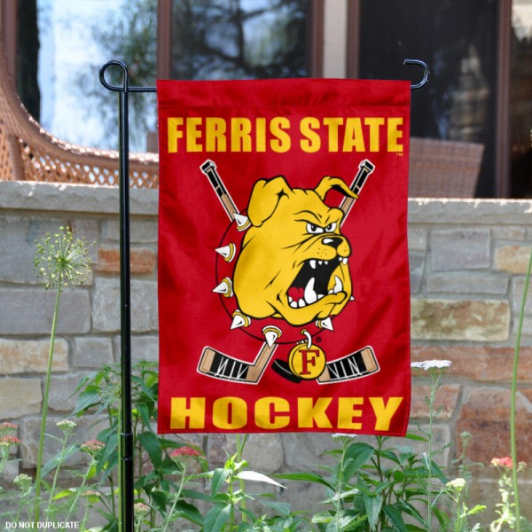 Ferris State Hockey Yard Flag is 13x18 inches in size, is made of 2-layer polyester, screen printed Ferris State University Hockey athletic logos and lettering. Available with Same Day Express Shipping, Our Ferris State Hockey Yard Flag is officially licensed and approved by Ferris State University Hockey and the NCAA.