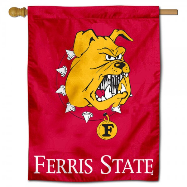 "Ferris State University Bulldogs House Flag is constructed of polyester material, is a vertical house flag, measures 30""x40"", offers screen printed athletic insignias, and has a top pole sleeve to hang vertically. Our Ferris State University Bulldogs House Flag is Officially Licensed by Ferris State University Bulldogs and NCAA."