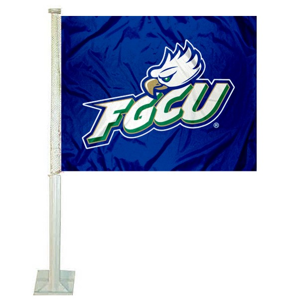 FGCU Eagles Logo Car Flag measures 12x15 inches, is constructed of sturdy 2 ply polyester, and has screen printed school logos which are readable and viewable correctly on both sides. FGCU Eagles Logo Car Flag is officially licensed by the NCAA and selected university.