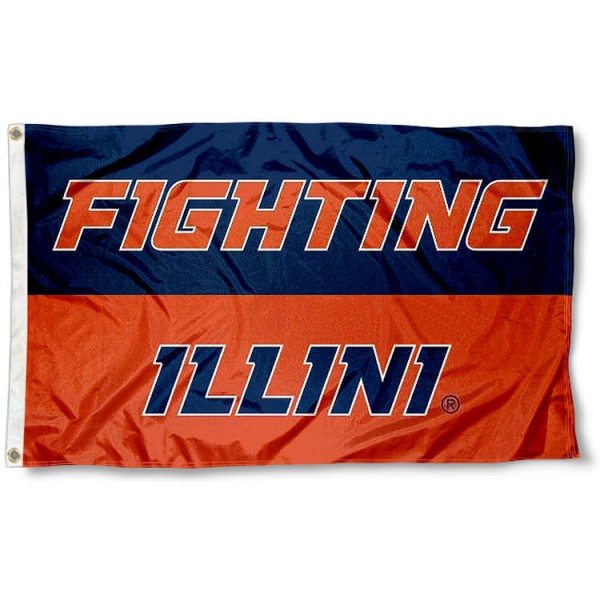 Fighting Illini Flag measures 3'x5', is made of 100% poly, has quadruple stitched sewing, two metal grommets, and has double sided University of Illinois logos. Our Fighting Illini Flag is officially licensed by the selected university and the NCAA