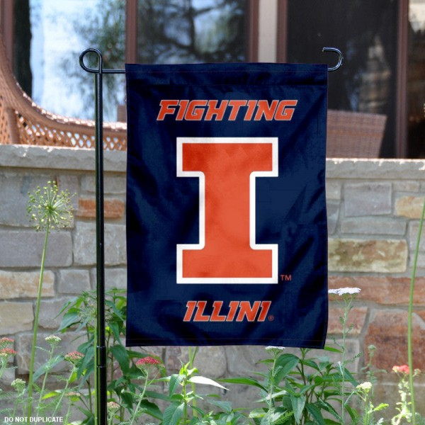 Fighting Illini New Logo Garden Flag is 13x18 inches in size, is made of 2-layer polyester, screen printed University of Illinois athletic logos and lettering. Available with Same Day Express Shipping, Our Fighting Illini New Logo Garden Flag is officially licensed and approved by University of Illinois and the NCAA.