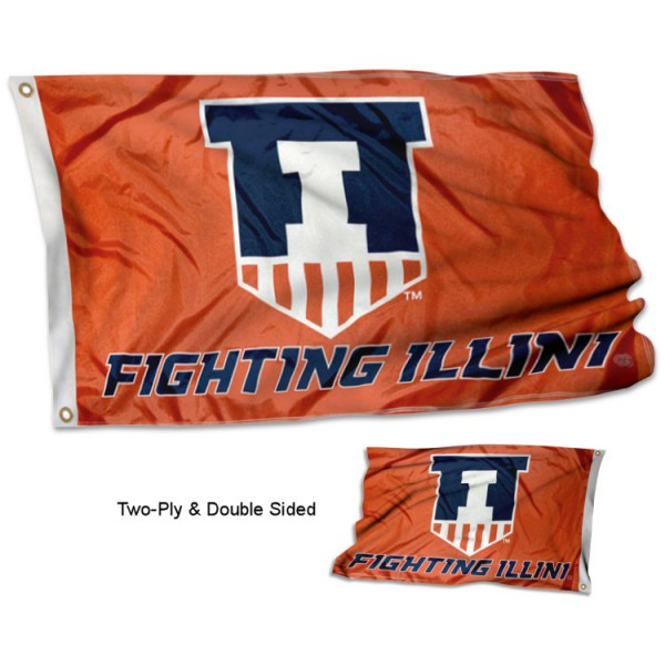 Fighting Illini Victory Badge Double Sided Flag measures 3'x5', is made of 2 layer 100% polyester, has quadruple stitched flyends for durability, and is readable correctly on both sides. Our Fighting Illini Victory Badge Double Sided Flag is officially licensed by the university, school, and the NCAA.