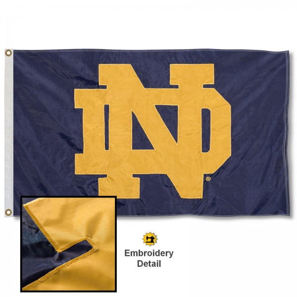 Fighting Irish Nylon Embroidered Flag measures 3'x5', is made of 100% nylon, has quadruple flyends, two metal grommets, and has double sided appliqued and embroidered University logos. These Fighting Irish 3x5 Flags are officially licensed by the selected university and the NCAA.