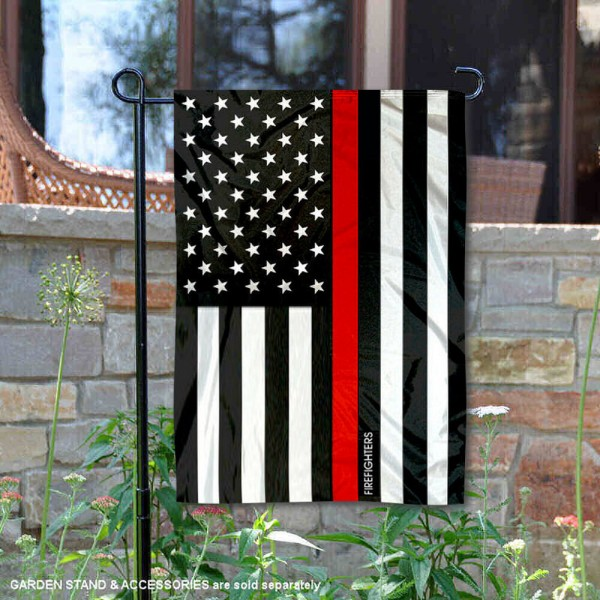 Firefighters Red Thin Line Garden Flag is 13x18 inches in size, is made of 2-layer polyester, screen printed logos and lettering, and is viewable on both sides. Available same day shipping, our Firefighters Red Thin Line Garden Flag is a great addition to your decorative garden flag selections.