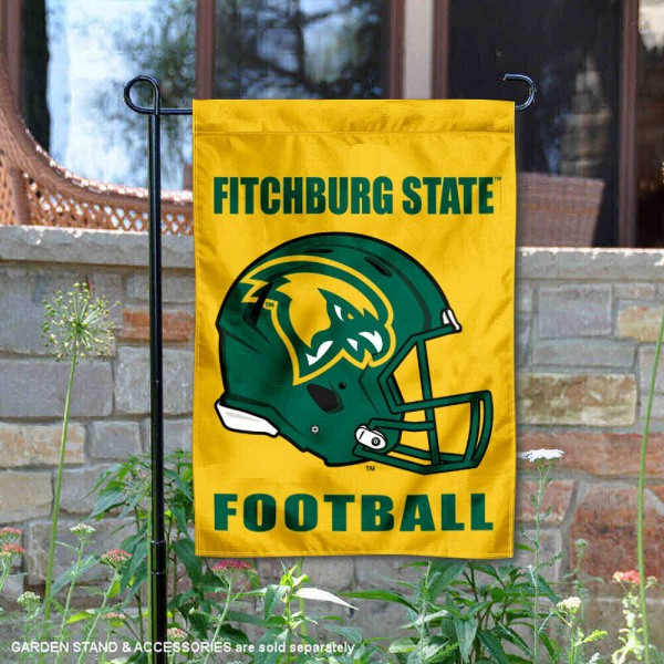Fitchburg State University Football Helmet Garden Banner is 13x18 inches in size, is made of 2-layer polyester, screen printed Fitchburg State University athletic logos and lettering. Available with Same Day Express Shipping, Our Fitchburg State University Football Helmet Garden Banner is officially licensed and approved by Fitchburg State University and the NCAA.
