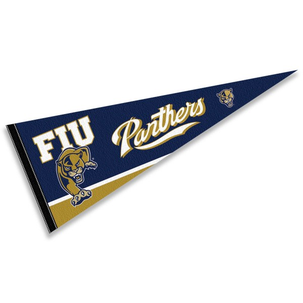 FIU Golden Panthers Decorations consists of our full size pennant which measures 12x30 inches, is constructed of felt, is single sided imprinted, and offers a pennant sleeve for insertion of a pennant stick, if desired. This FIU Golden Panthers Decorations is officially licensed by the selected university and the NCAA