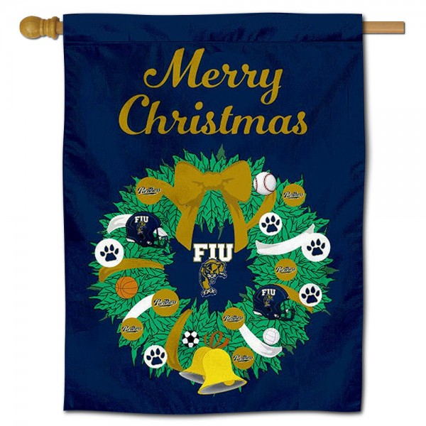 FIU Panthers Happy Holidays Banner Flag measures 30x40 inches, is made of poly, has a top hanging sleeve, and offers dye sublimated FIU Panthers logos. This Decorative FIU Panthers Happy Holidays Banner Flag is officially licensed by the NCAA.
