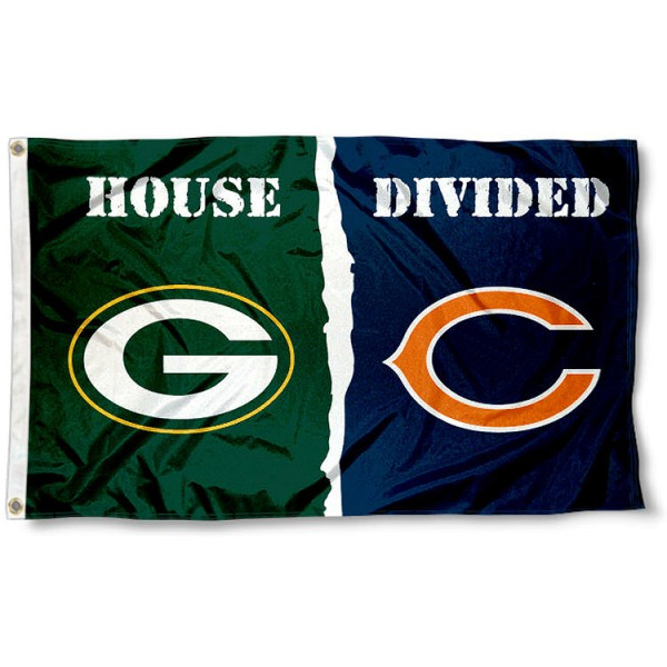 Flag for Divided House - Chicago vs. Green Bay sizes at 3x5 feet, is made of 100% polyester, has quadruple-stitched fly ends, and the Football Team logos are screen printed into the Flag for Divided House - Chicago vs. Green Bay. The Flag for Divided House - Chicago vs. Green Bay is approved by NFL and the selected NFL Teams.
