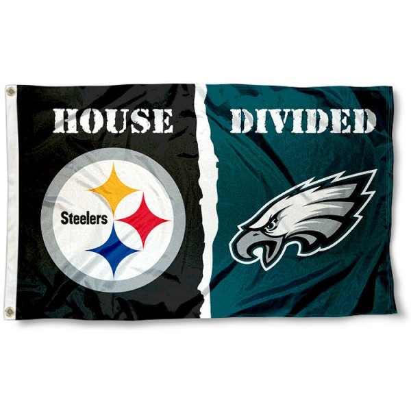 Flag for Divided House - Philadelphia Eagles vs. Steelers sizes at 3x5 feet, is made of 100% polyester, has quadruple-stitched fly ends, and the Football Team logos are screen printed into the Flag for Divided House - Philadelphia Eagles vs. Steelers. The Flag for Divided House - Philadelphia Eagles vs. Steelers is approved by NFL and the selected NFL Teams.