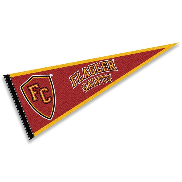 Flagler College Saints Pennant consists of our full size sports pennant which measures 12x30 inches, is constructed of felt, is single sided imprinted, and offers a pennant sleeve for insertion of a pennant stick, if desired. This Flagler College Saints Pennant Decorations is Officially Licensed by the selected university and the NCAA.