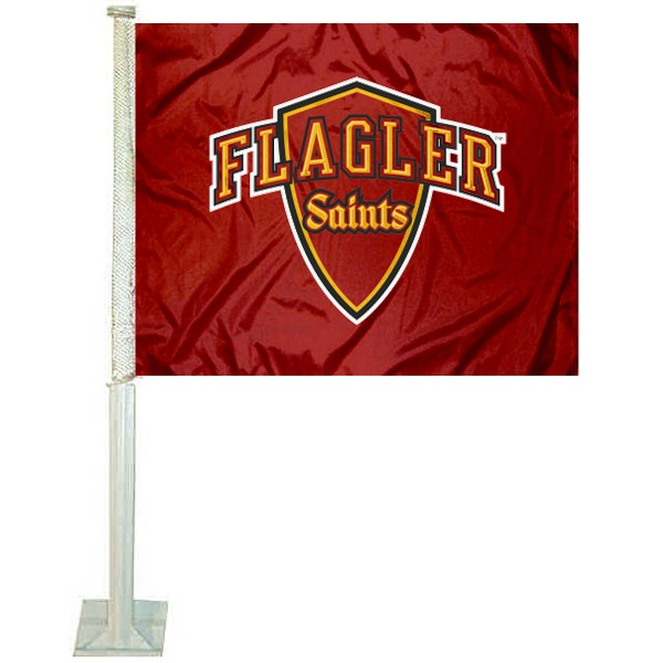 Flagler Saints Logo Car Flag measures 12x15 inches, is constructed of sturdy 2 ply polyester, and has screen printed school logos which are readable and viewable correctly on both sides. Flagler Saints Logo Car Flag is officially licensed by the NCAA and selected university.