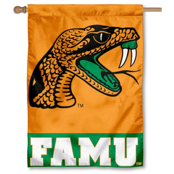 Florida A&M Rattlers Double Sided Banner is a vertical house flag which measures 28x40 inches, is made of 2 ply 100% nylon, offers screen printed NCAA team insignias, and has a top pole sleeve to hang vertically. Our Florida A&M Rattlers Double Sided Banner is officially licensed by the selected university and the NCAA.