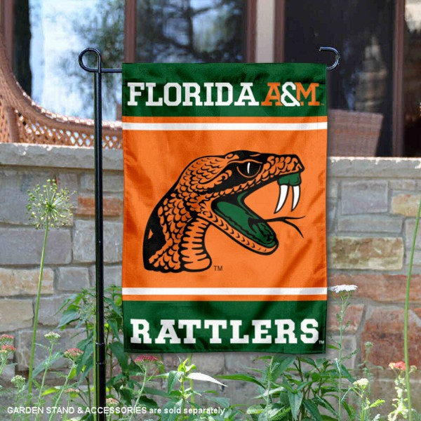 Florida A&M Rattlers Garden Flag is 13x18 inches in size, is made of 2-layer polyester, screen printed logos and lettering. Available with Same Day Express Shipping, Our Florida A&M Rattlers Garden Flag is officially licensed and approved by the NCAA.