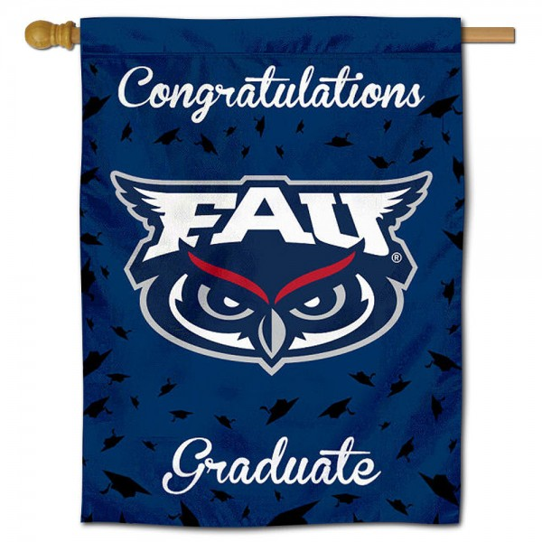 Florida Atlantic Owls Congratulations Graduate Flag measures 30x40 inches, is made of poly, has a top hanging sleeve, and offers dye sublimated Florida Atlantic Owls logos. This Decorative Florida Atlantic Owls Congratulations Graduate House Flag is officially licensed by the NCAA.