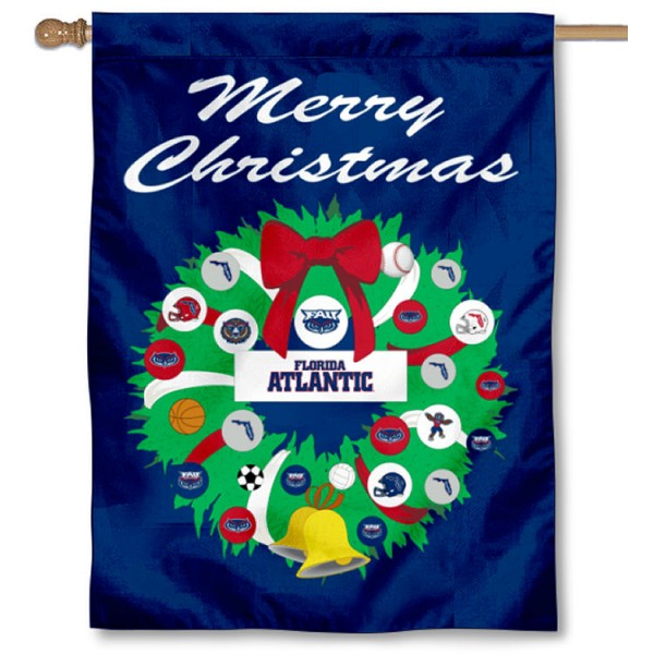 Florida Atlantic Owls Holiday Flag is a decorative house flag, 30x40 inches, made of 100% polyester, Holiday NCAA team insignias, and has a top pole sleeve to hang vertically. Our Florida Atlantic Owls Holiday Flag is officially licensed by the selected university and the NCAA.