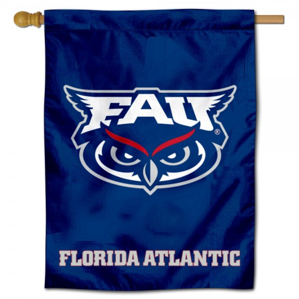 "Florida Atlantic Owls Logo Banner Flag is constructed of polyester material, is a vertical house flag, measures 30""x40"", offers screen printed athletic insignias, and has a top pole sleeve to hang vertically. Our Florida Atlantic Owls Logo Banner Flag is Officially Licensed by Florida Atlantic Owls and NCAA."