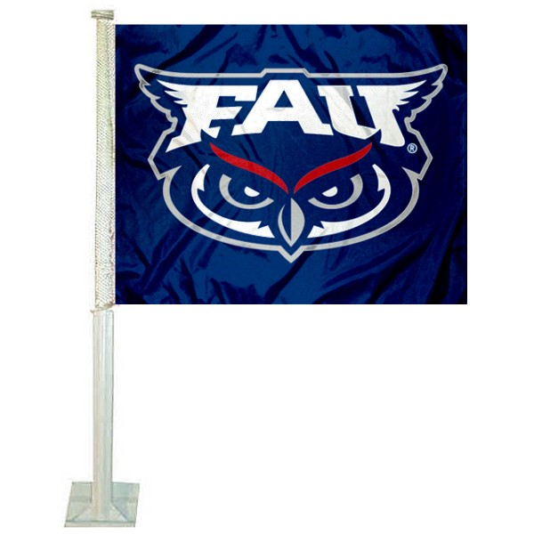 Florida Atlantic Owls Logo Car Flag measures 12x15 inches, is constructed of sturdy 2 ply polyester, and has screen printed school logos which are readable and viewable correctly on both sides. Florida Atlantic Owls Logo Car Flag is officially licensed by the NCAA and selected university.