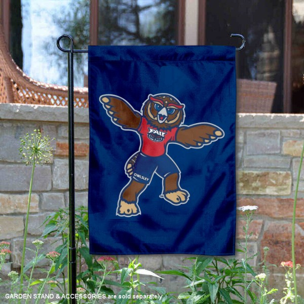 Florida Atlantic Owls Owlsley the Owl Garden Flag is 13x18 inches in size, is made of 2-layer polyester, screen printed university athletic logos and lettering, and is readable and viewable correctly on both sides. Available same day shipping, our Florida Atlantic Owls Owlsley the Owl Garden Flag is officially licensed and approved by the university and the NCAA.