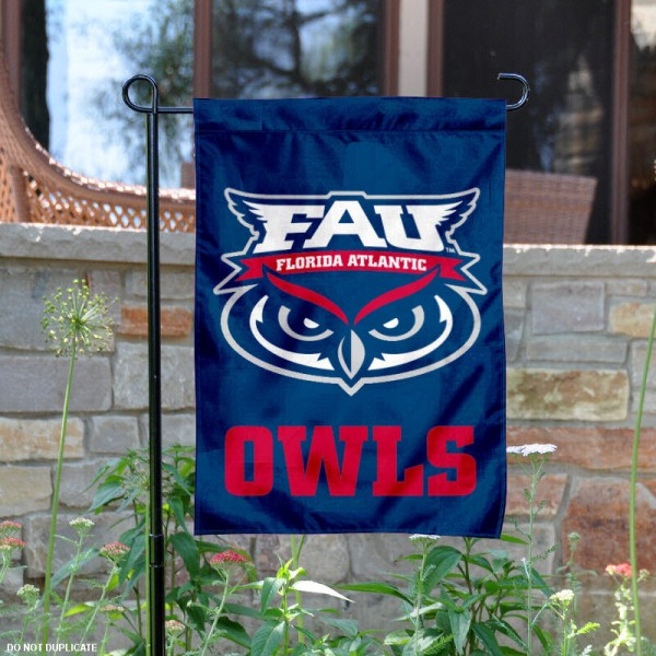 Florida Atlantic University Garden Flag is 13x18 inches in size, is made of 2-layer polyester, screen printed Florida Atlantic University athletic logos and lettering. Available with Same Day Express Shipping, Our Florida Atlantic University Garden Flag is officially licensed and approved by Florida Atlantic University and the NCAA.