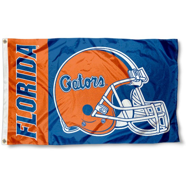 Florida Gators College Football Flag measures 3x5 feet, is made of 100% polyester, offers a double stitched perimeter, has two metal grommets, and offers dye sublimated NCAA team logos and insignias. Our Florida Gators College Football Flag is officially licensed by the selected university and NCAA