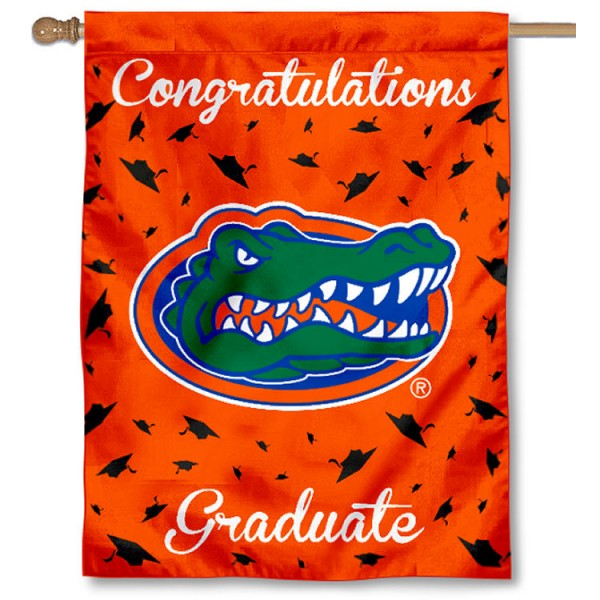Florida Gators Congratulations Graduate Flag measures 30x40 inches, is made of poly, has a top hanging sleeve, and offers dye sublimated Florida Gators logos. This Decorative Florida Gators Congratulations Graduate House Flag is officially licensed by the NCAA.
