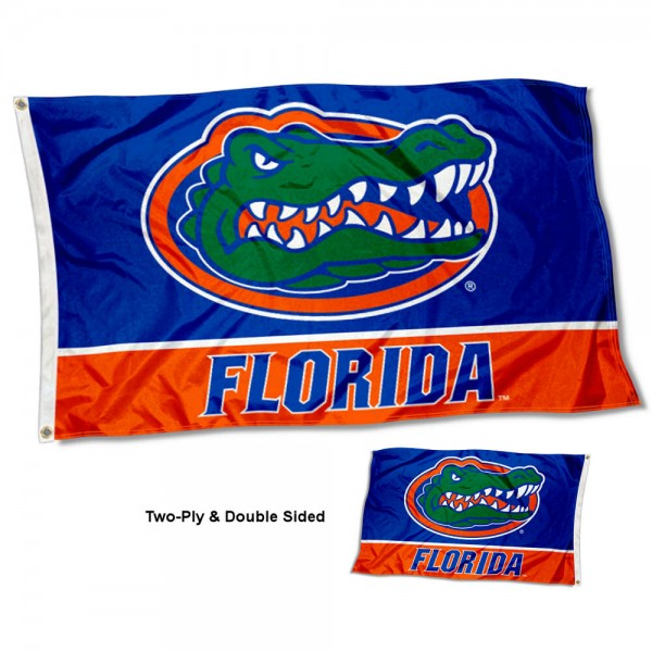 Florida Gators Double Sided Flag measures 3'x5', is made of 2 layer 100% polyester, has quadruple stitched flyends for durability, and is readable correctly on both sides. Our Florida Gators Double Sided Flag is officially licensed by the university, school, and the NCAA.
