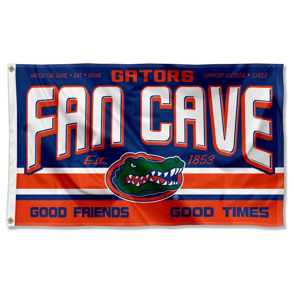 Florida Gators Fan Man Cave Game Room Banner Flag measures 3x5 feet, is made of 100% polyester, offers quadruple stitched flyends, has two metal grommets, and offers screen printed NCAA team logos and insignias. Our Florida Gators Fan Man Cave Game Room Banner Flag is officially licensed by the selected university and NCAA.