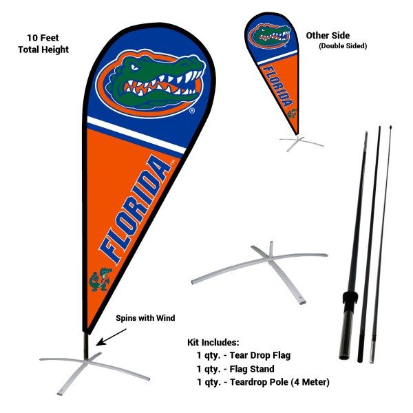 Florida Gators Feather Flag Kit measures a tall 10' when fully assembled. The kit includes a Feather Flag, 3 Piece Fiberglass Pole, and matching Metal Feather Flag Stand. Our Florida Gators Feather Flag Kit easily assembles and is NCAA Officially Licensed by the selected school or university.
