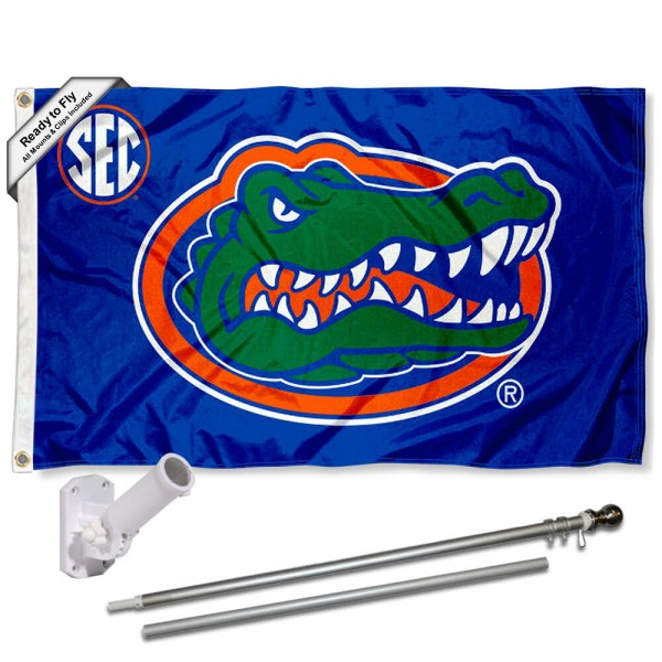 Our Florida Gators Flag Pole and Bracket Kit includes the flag as shown and the recommended flagpole and flag bracket. The flag is made of polyester, has quad-stitched flyends, and the NCAA Licensed team logos are double sided screen printed. The flagpole and bracket are made of rust proof aluminum and includes all hardware so this kit is ready to install and fly.