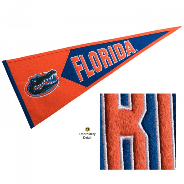 Florida Gators Genuine Wool Pennant consists of our full size 13x32 inch Winning Streak Sports wool college pennant. The logos, lettering and insignia is quality embroidered and appliqued, feature a alternate logo color header, and has sewn wool perimeter. This Florida Gators College Pennant Pennant is Officially Licensed and University Approved with Overnight Next Day Shipping.