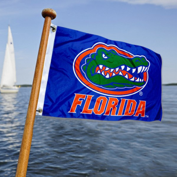 Florida Gators Nautical Flag measures 12x18 inches, is made of two-ply polyesters, offers quadruple stitched flyends for durability, has two metal grommets, and is viewable from both sides. Our Florida Gators Nautical Flag is officially licensed by the selected university and the NCAA and can be used as a motorcycle flag, golf cart flag, or ATV flag