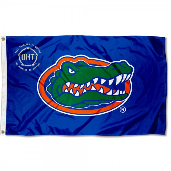 Florida Gators Operation Hat Trick Flag measures 3x5 feet, is made of 100% polyester, offers quadruple stitched flyends, has two metal grommets, and offers screen printed NCAA team logos and insignias. Our Florida Gators Operation Hat Trick Flag is officially licensed by the selected university and NCAA.