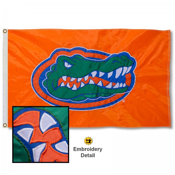 Florida Gators Orange Nylon Embroidered Flag measures 3'x5', is made of 100% nylon, has quadruple flyends, two metal grommets, and has double sided appliqued and embroidered University logos. These Florida Gators 3x5 Flags are officially licensed by the selected university and the NCAA.