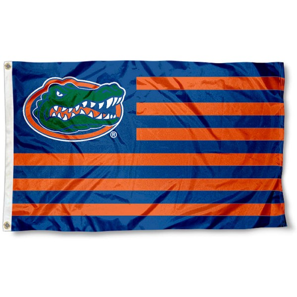 Florida Gators Striped Flag measures 3'x5', is made of polyester, offers quad stitched flyends for durability, has two metal grommets, and is viewable from both sides with a reverse image on the opposite side. Our Florida Gators Striped Flag is officially licensed by the selected school university and the NCAA