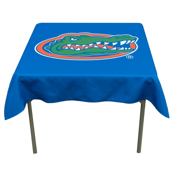 Florida Gators Table Cloth measures 48 x 48 inches, is made of 100% Polyester, seamless one-piece construction, and is perfect for any tailgating table, card table, or wedding table overlay. Each includes Officially Licensed Logos and Insignias.