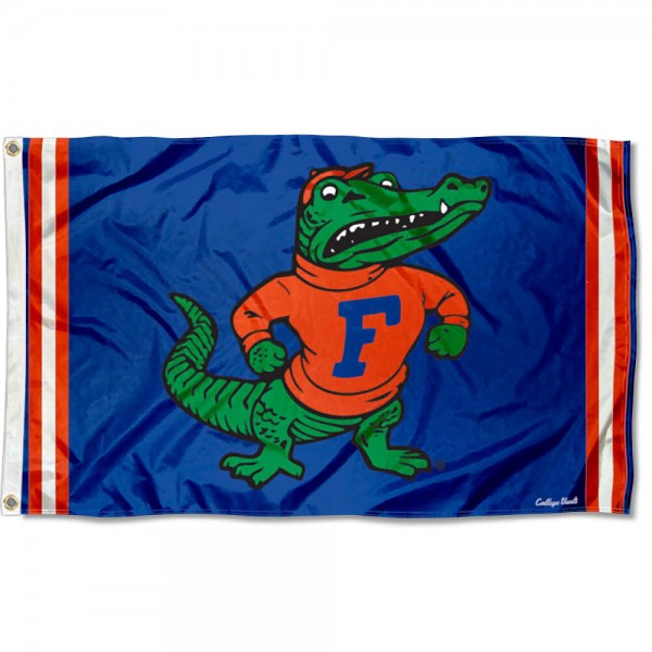 Florida Gators Throwback Vault Logo Flag measures 3x5 feet, is made of 100% polyester, offers quadruple stitched flyends, has two metal grommets, and offers screen printed NCAA team logos and insignias. Our Florida Gators Throwback Vault Logo Flag is officially licensed by the selected university and NCAA.